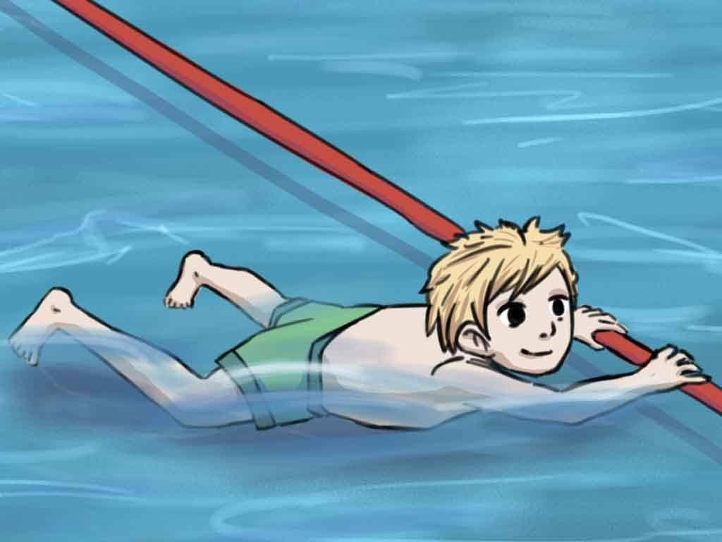 Schwimmen lernen eine Übung